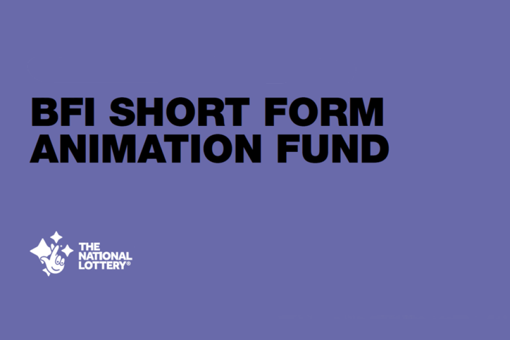 "purple background with ""BFI Short Form animation fund"" wirtten in black bold letters. Below is a logo for the National Lottery"