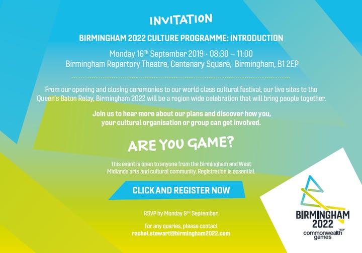 Register for the Birmingham 2022 Culture Programme: Introduction